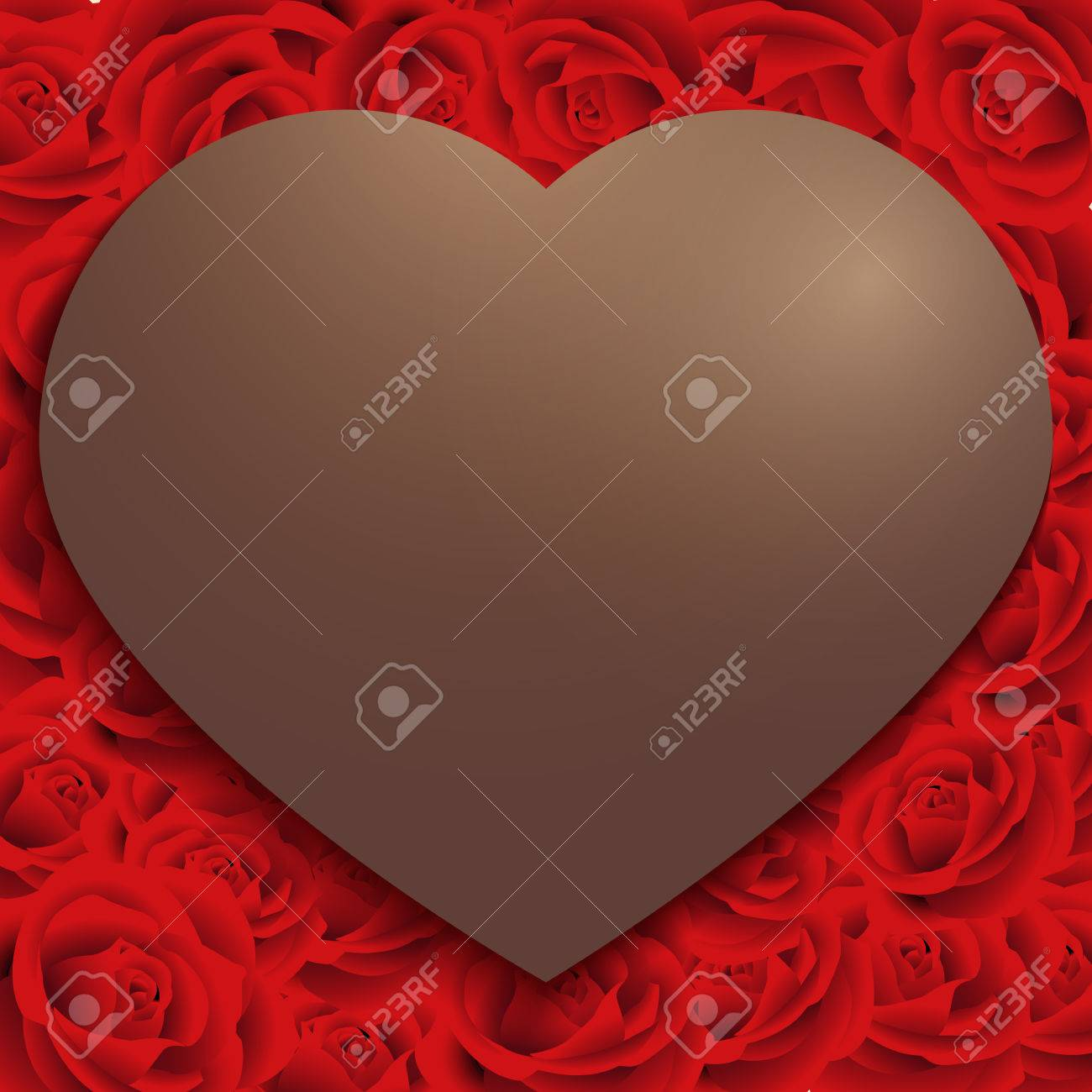 Happy Valentine Day Chocolate Heart Frame On Red Rose Pattern