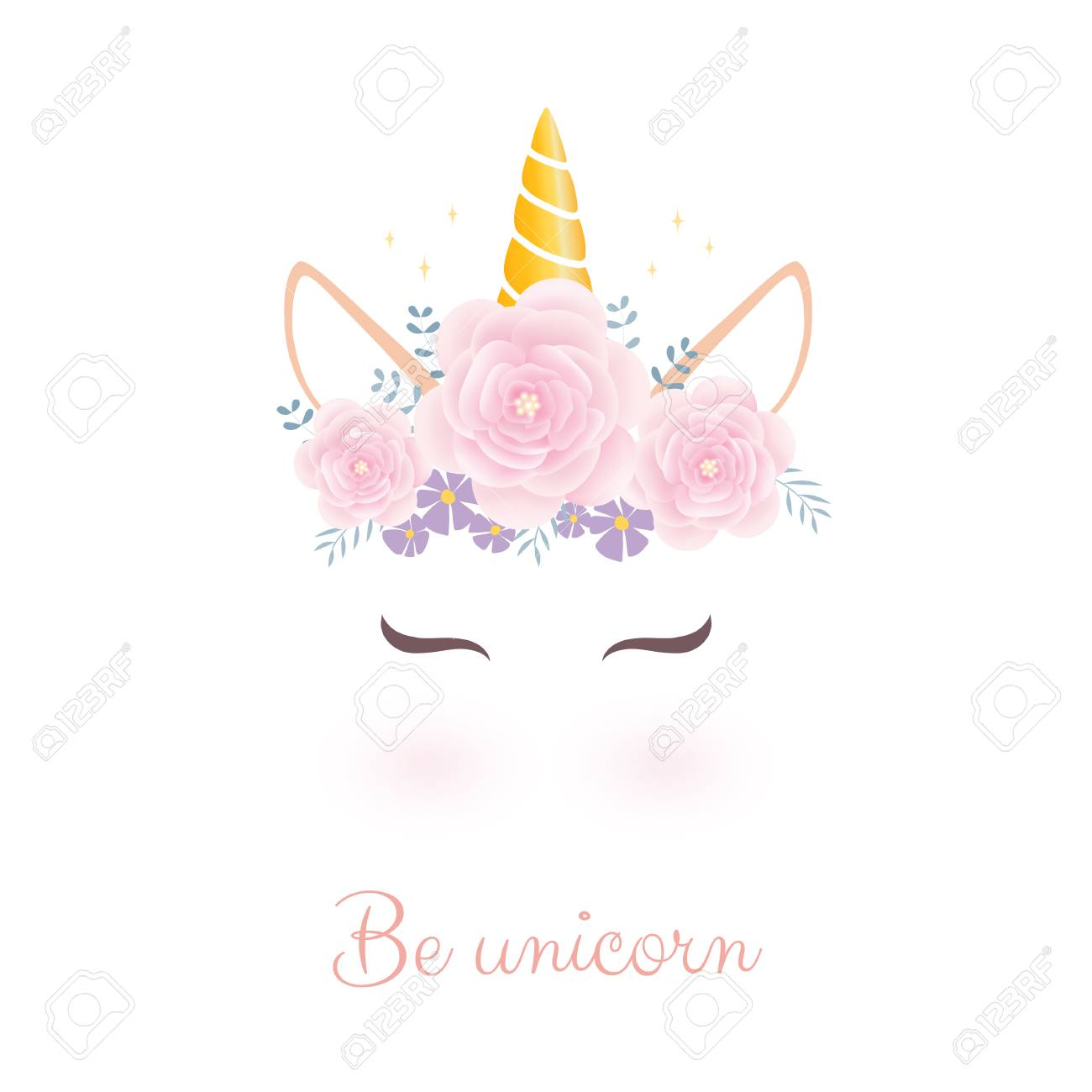 Cute unicorn head with flower crown