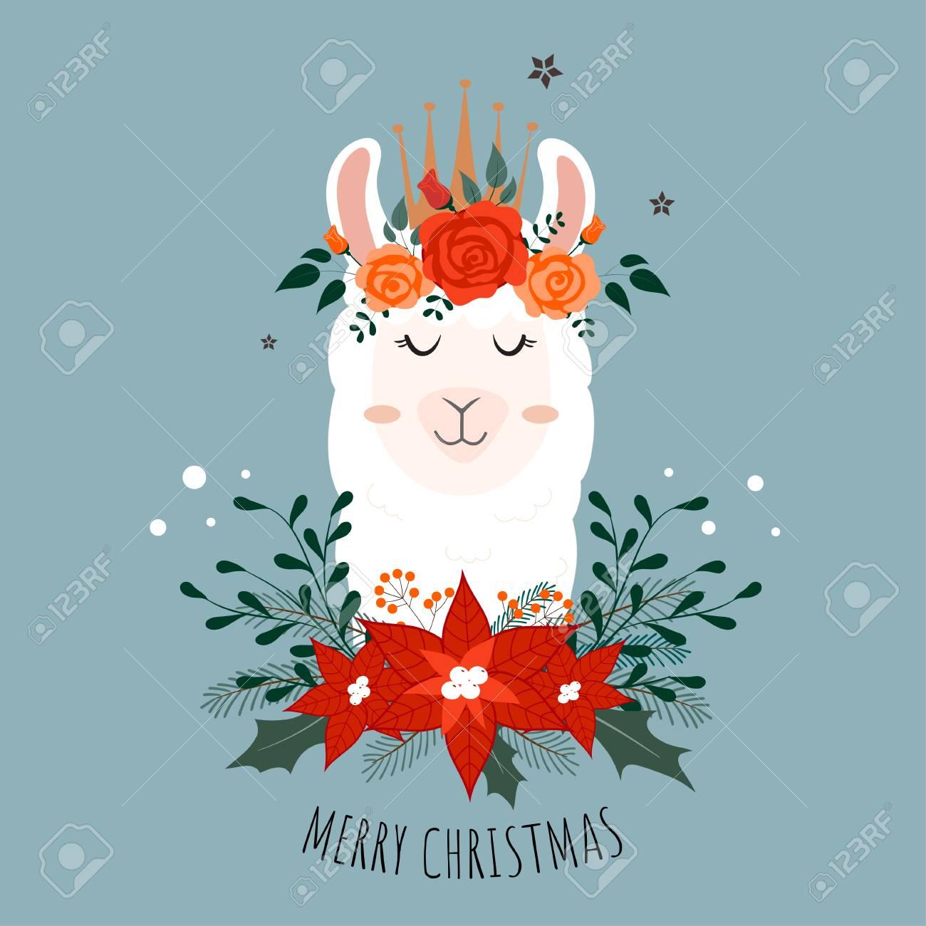 Llama Christmas.Cute Christmas Llama With Flower Crown