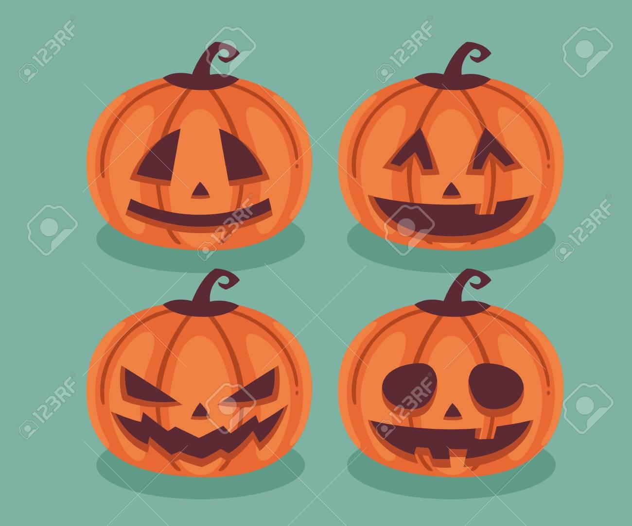 Zucche di Halloween. Disegno del carattere piatto. È illustrazione.  Archivio Fotografico - 64225117 496b57f02e57