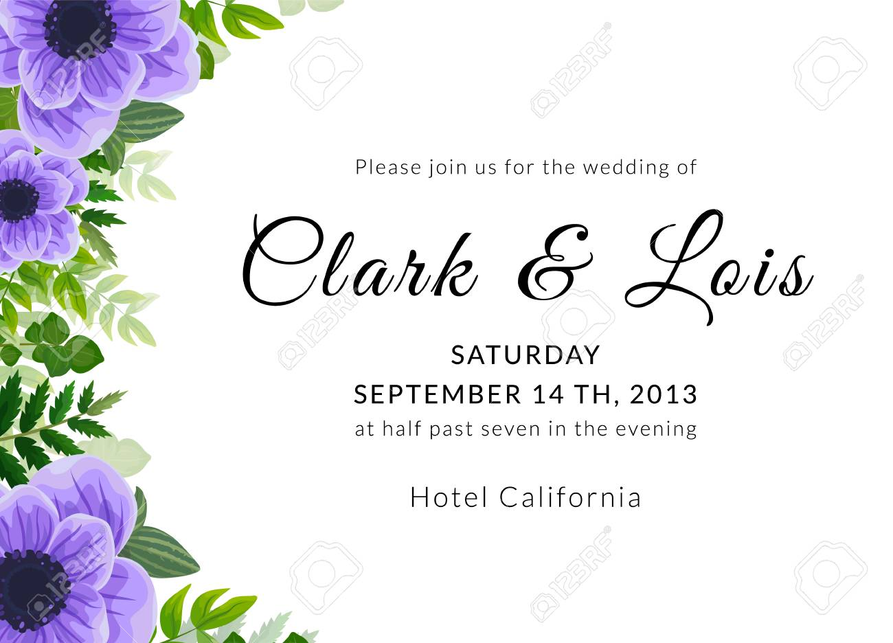 Wedding Invitation Card Lovely Template Card Design With Violet Anemone Flower Forest Greenery Ferns Plants Green Leaves
