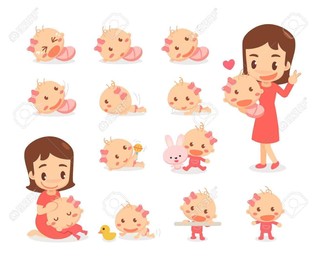 Mom and baby girl. Baby development stages. Baby milestones. - 126244383