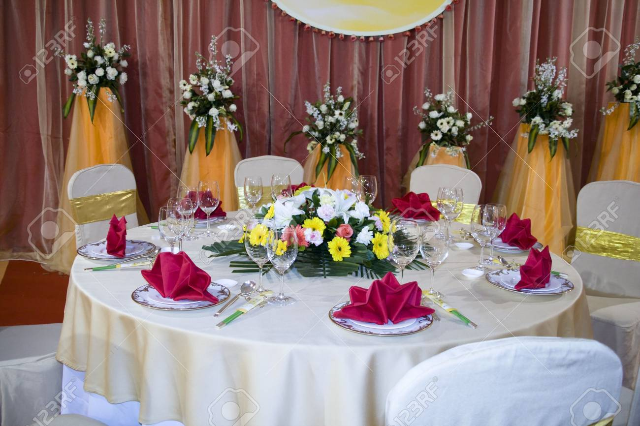 Banquet Table Setting Part - 23: Banquet Table Setting For Wedding In China Stock Photo - 2634102