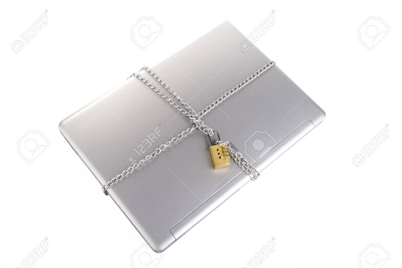 Laptop with chains and combination padlock isolated on white Stock Photo - 3565076
