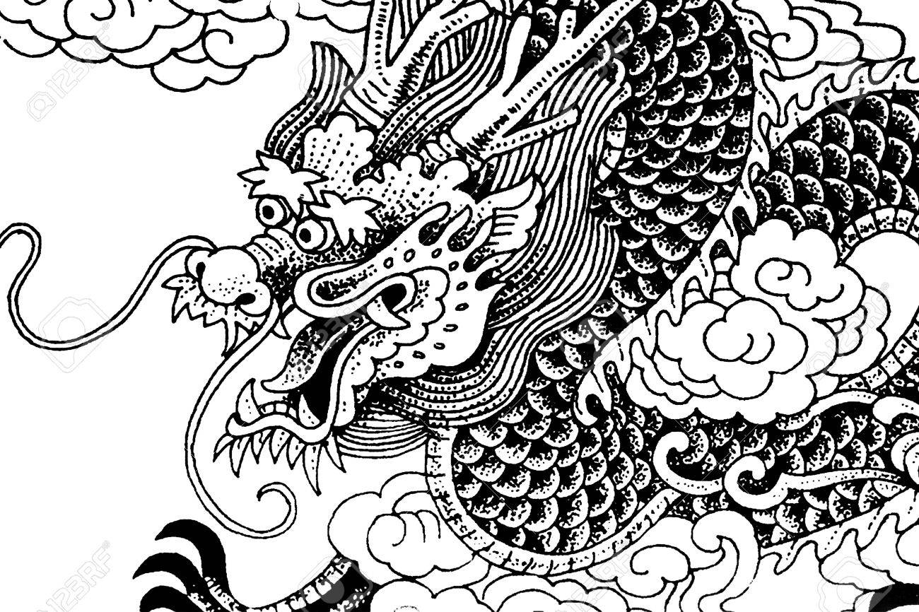 Black And White Chinese Dragon Drawings