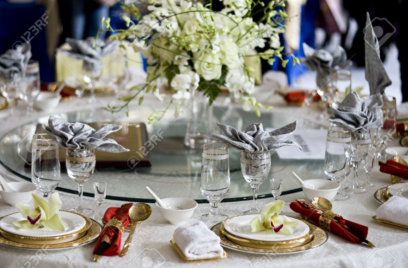 Superior Banquet Table Setting Part - 10: Banquet Table Setting For Wedding In China Stock Photo - 4575327