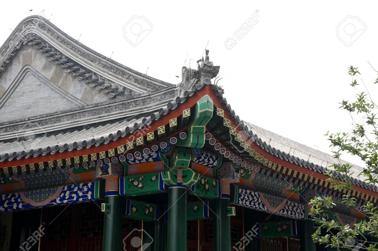 chinese design on roof details of palace stock photo picture and