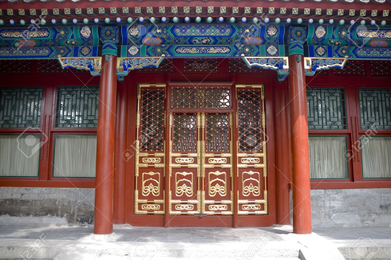 Chinese doors in a chinese courtyard Stock Photo - 4881055 & Chinese Doors In A Chinese Courtyard Stock Photo Picture And ...