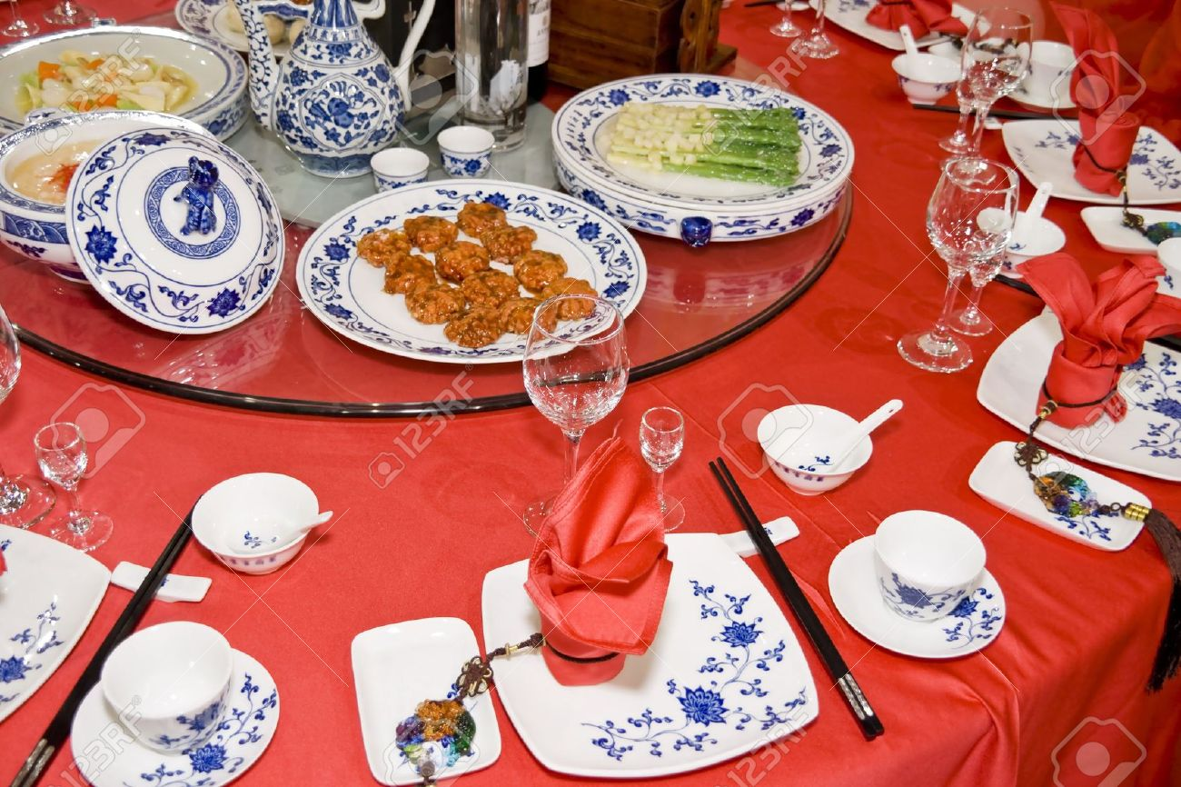 Chinese table setting - Banquet Table Setting For Wedding In China Stock Photo 5155998
