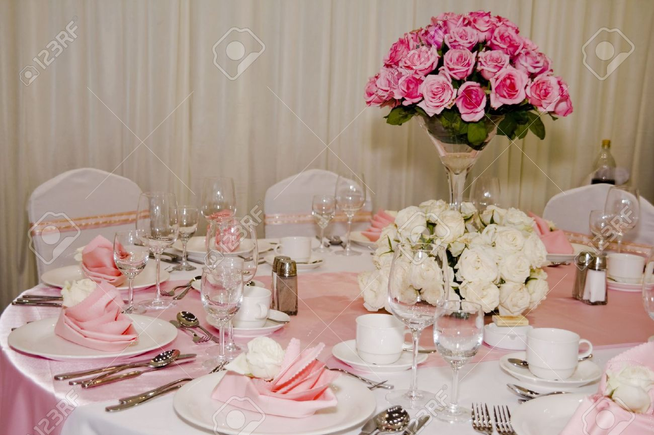 Banquet Table Setting For Wedding In China Stock Photo   5155999