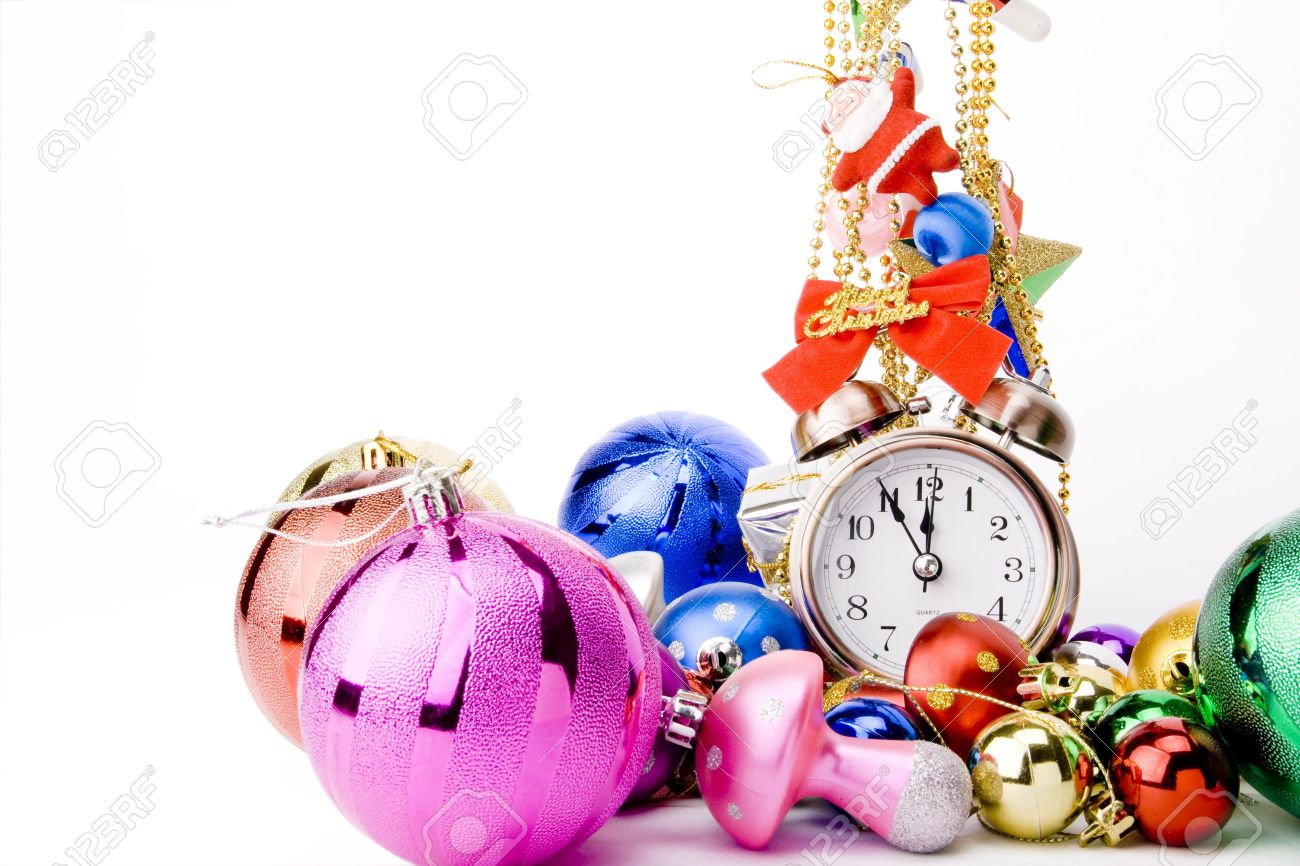 alarm clock and christmas decorations on a white background christmas countdown stock photo 6016051