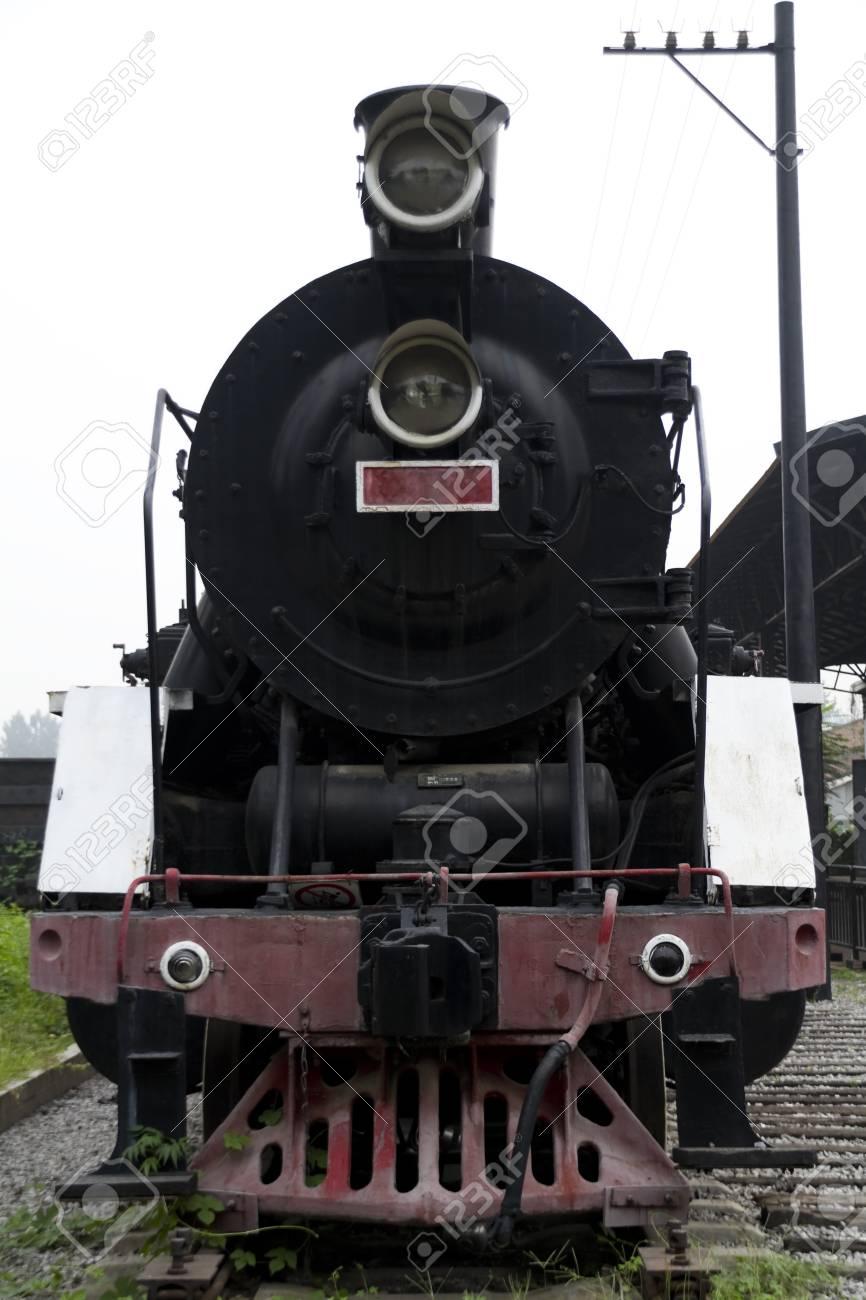 a black classic steam engine Stock Photo - 7611574