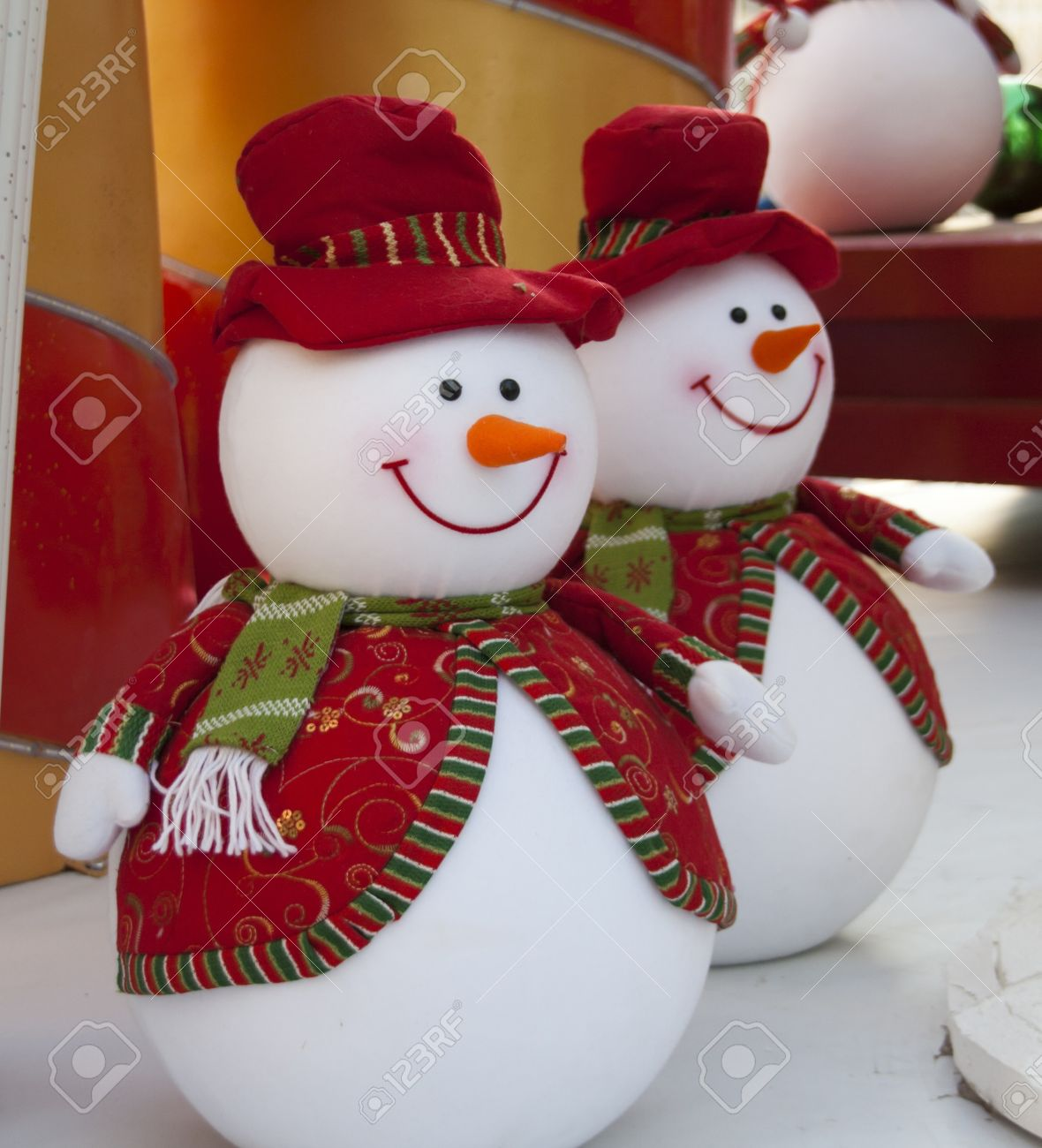 snowman christmas decoration in outdoor stock photo 16747461 - Snowman Christmas Decorations