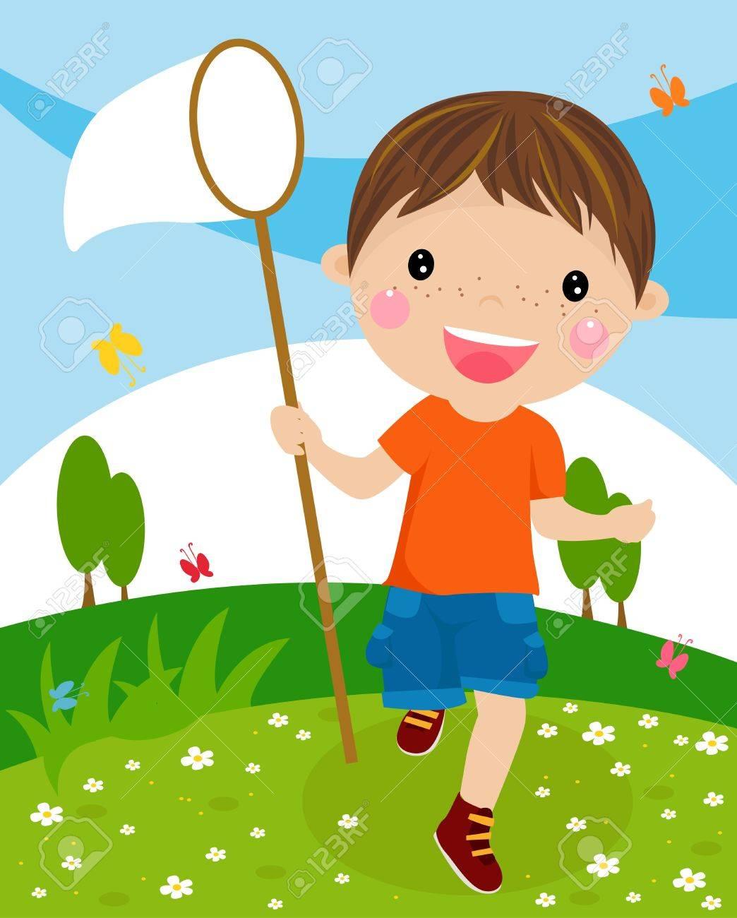 虫取り網を持った素敵な少年のイラストのイラスト素材ベクタ Image