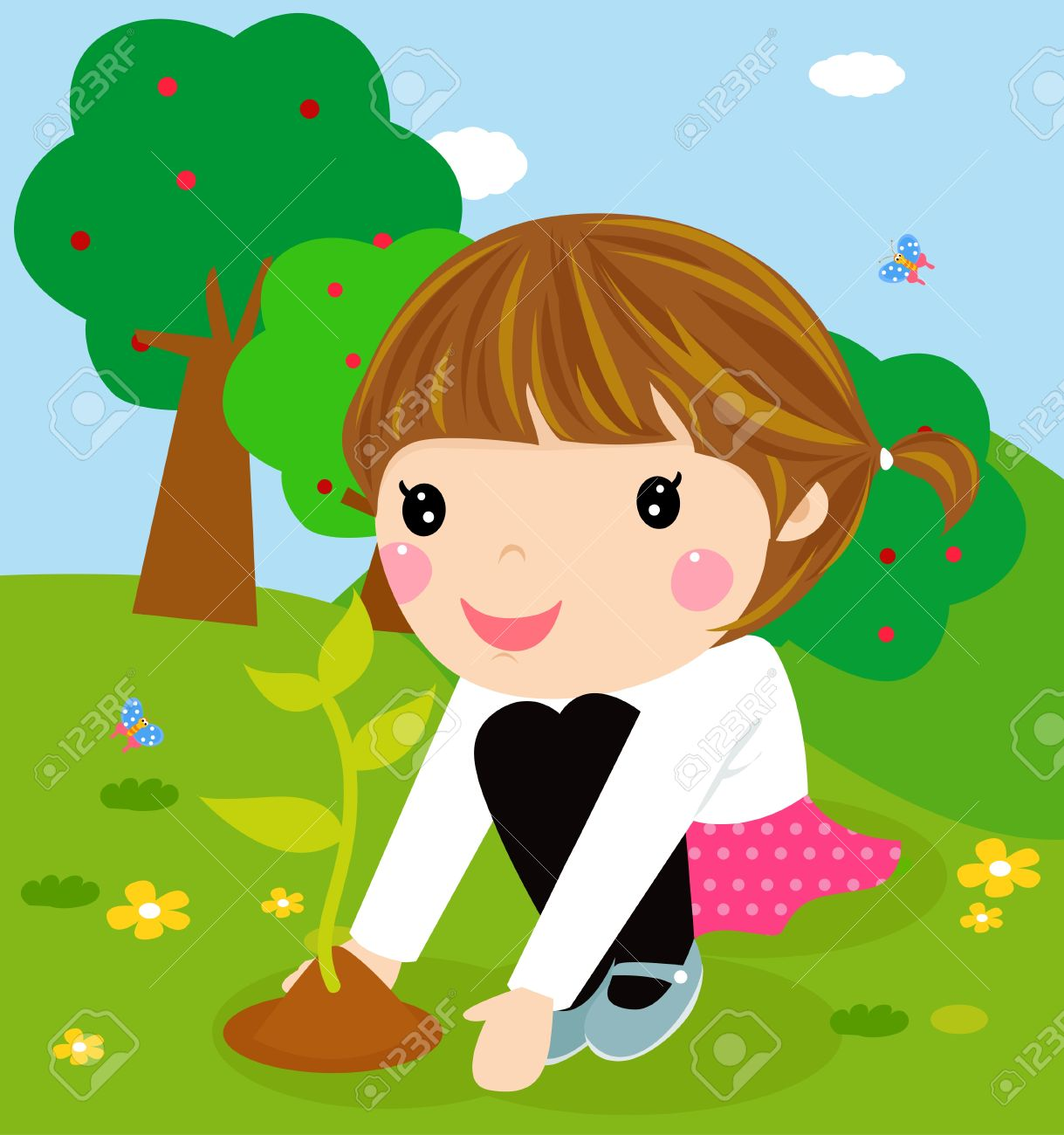 Playing garden drawing for kids - Summer Garden Happy Kid Is Planting Small Plant Cartoon Illustration