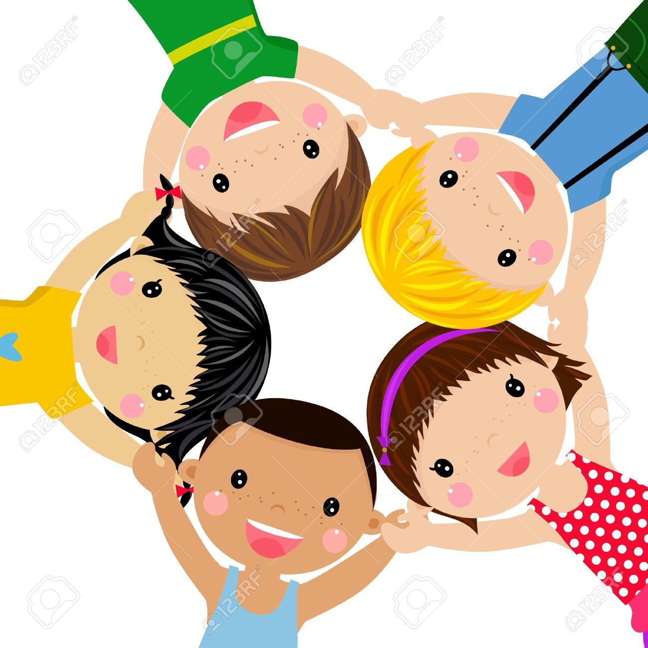 happy children hand in hand around illustration stock vector 14849935 - Kids Cartoon Picture