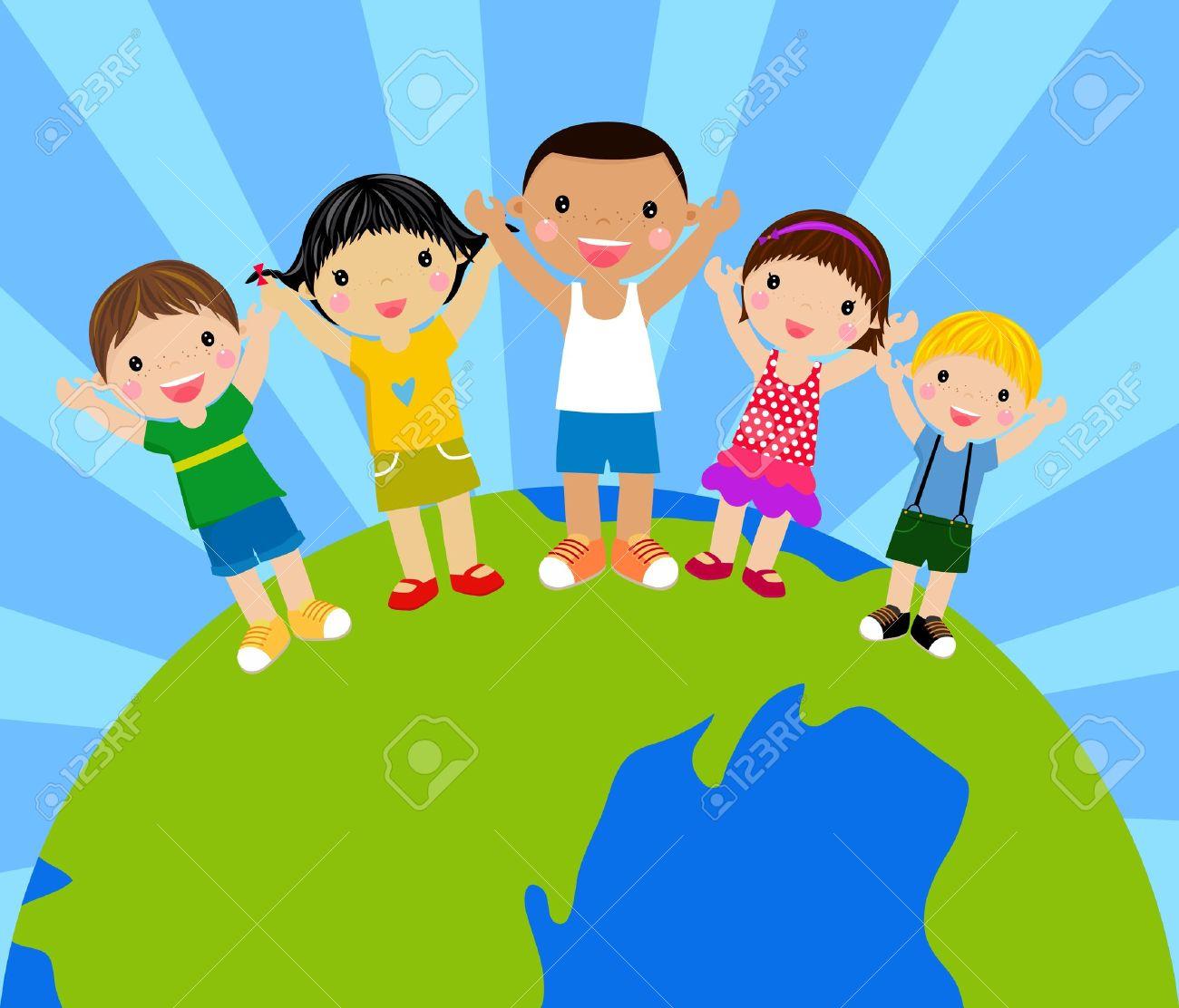 Dibujos Animados Para Niños Tomados De Las Manos Alrededor De Un