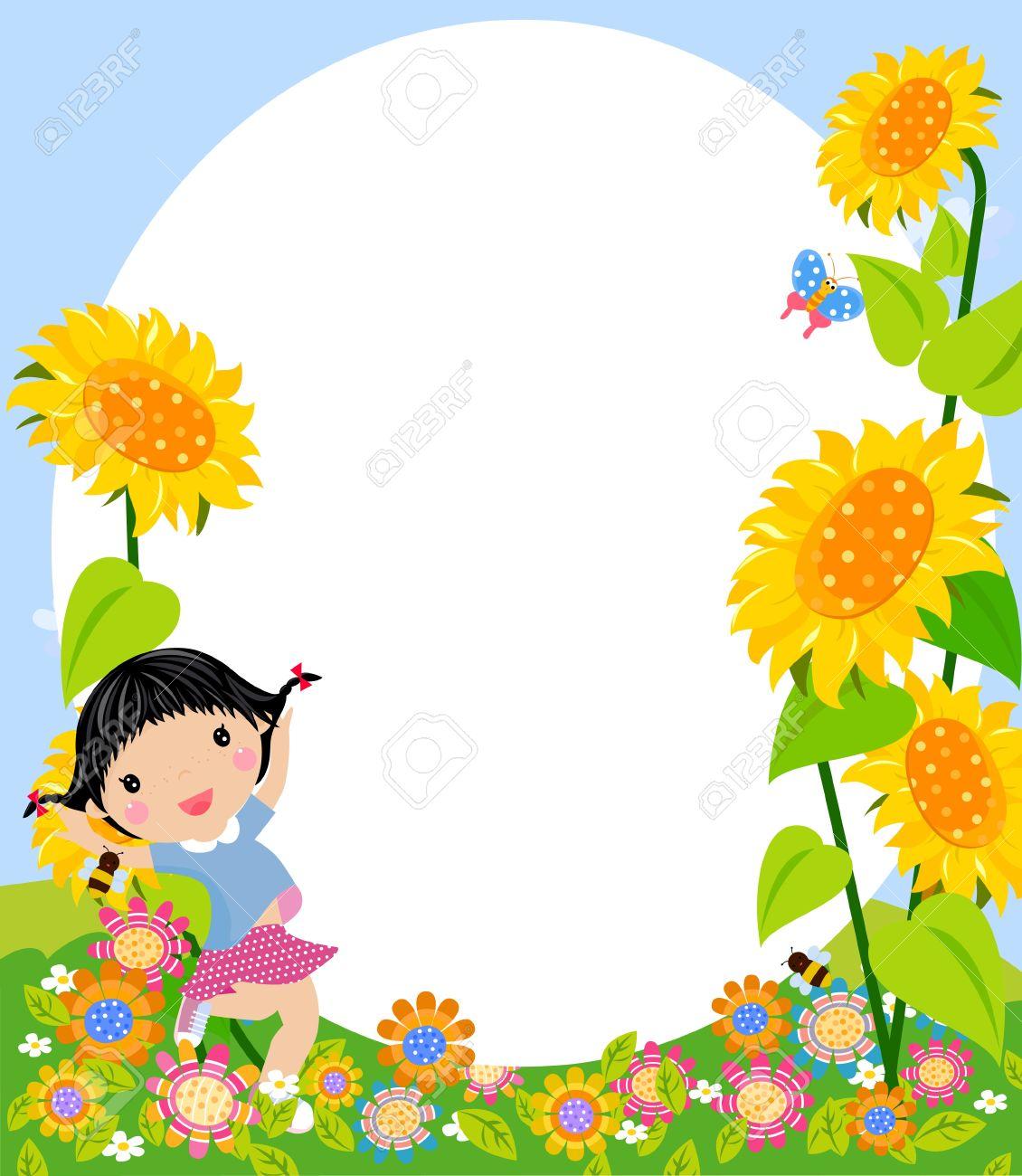 Niña Feliz Saltando Y Marco Ilustraciones Vectoriales, Clip Art ...