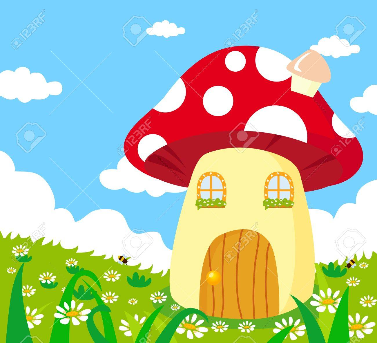 mushroom houses on clouds stock photos u0026 pictures royalty free