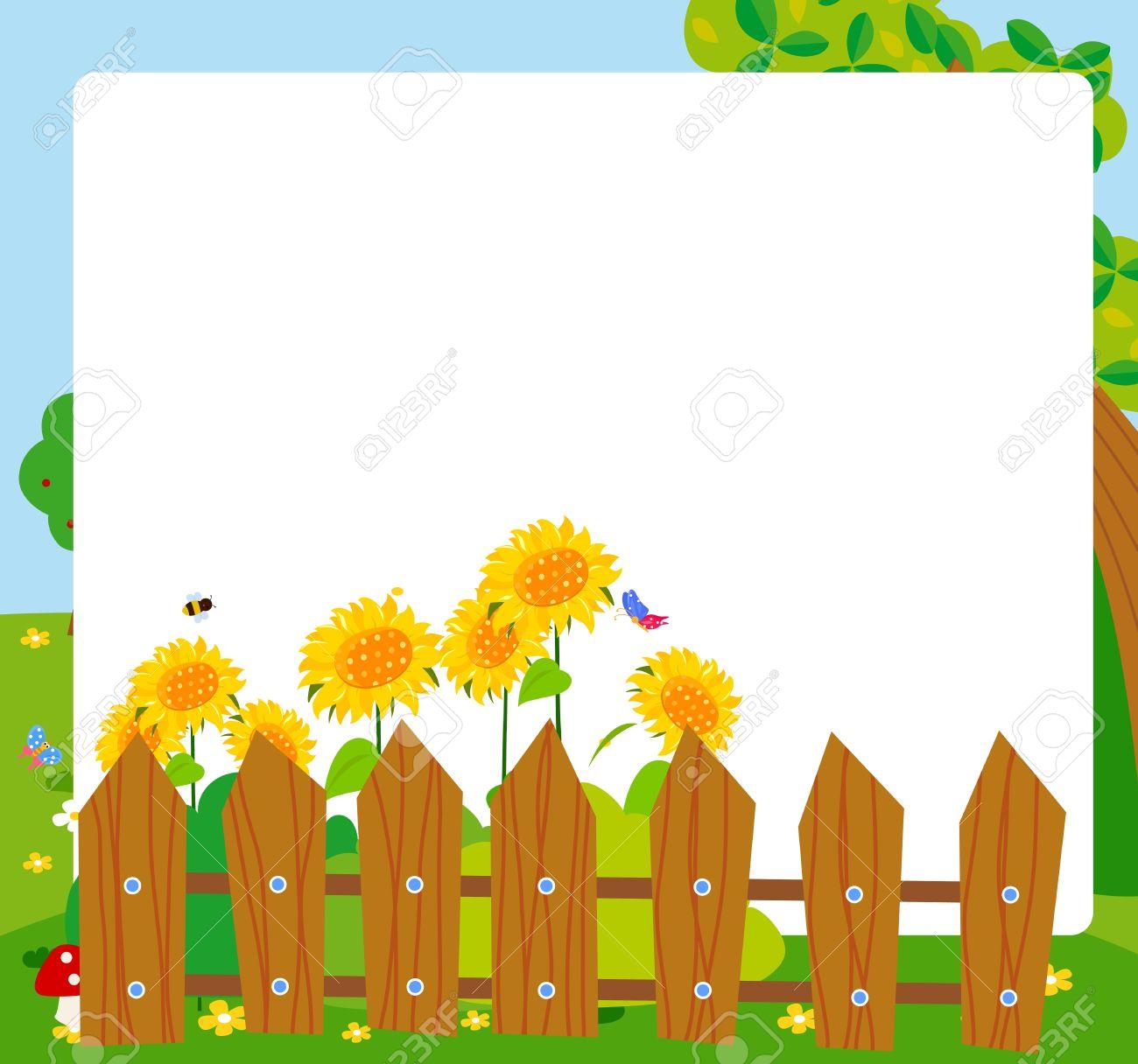 Flower garden cartoon - Cartoon Sunflower Frame Stock Vector 14861006