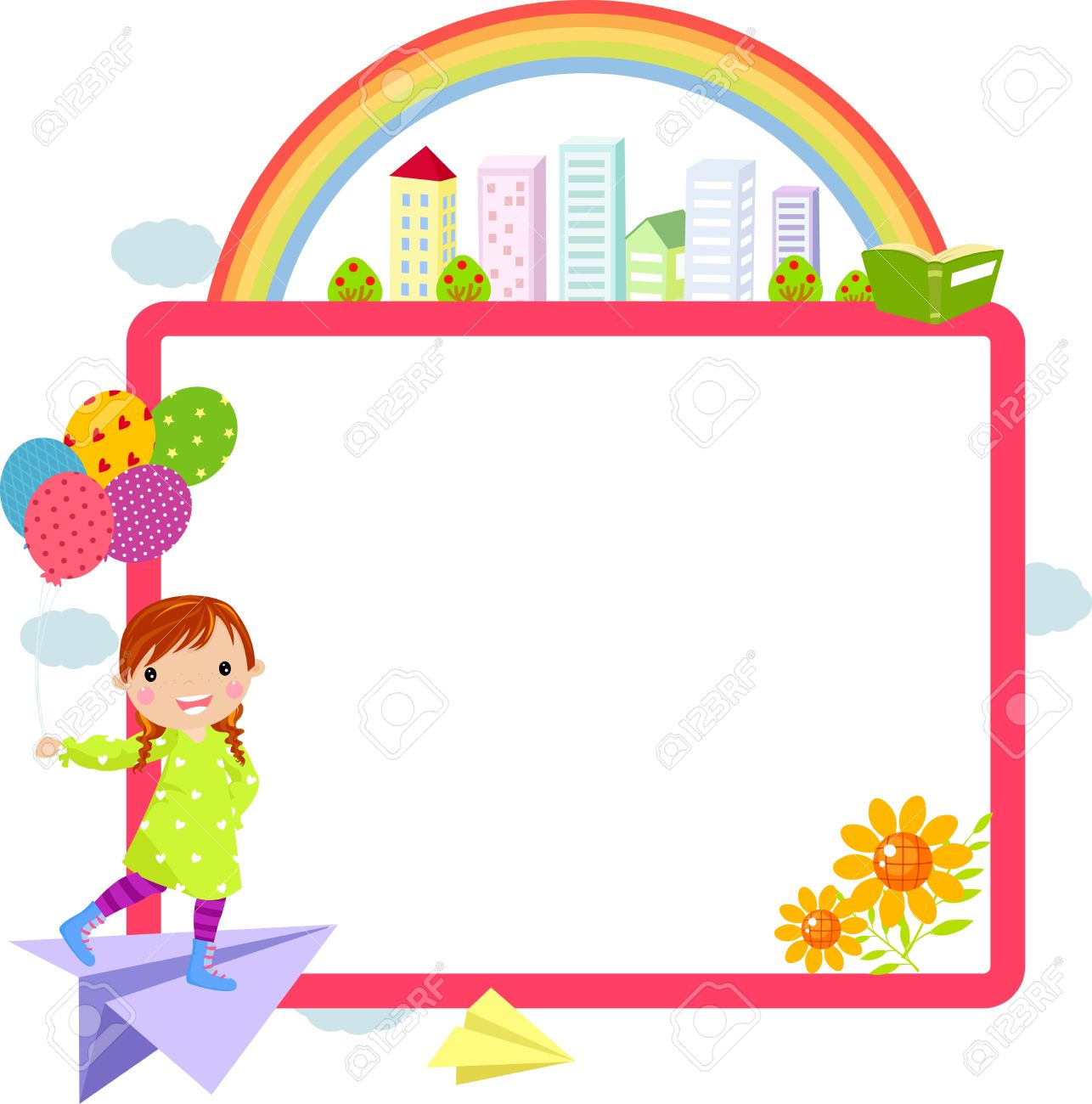 Cute Little Girl And Frame Royalty Free Cliparts, Vectors, And Stock ...