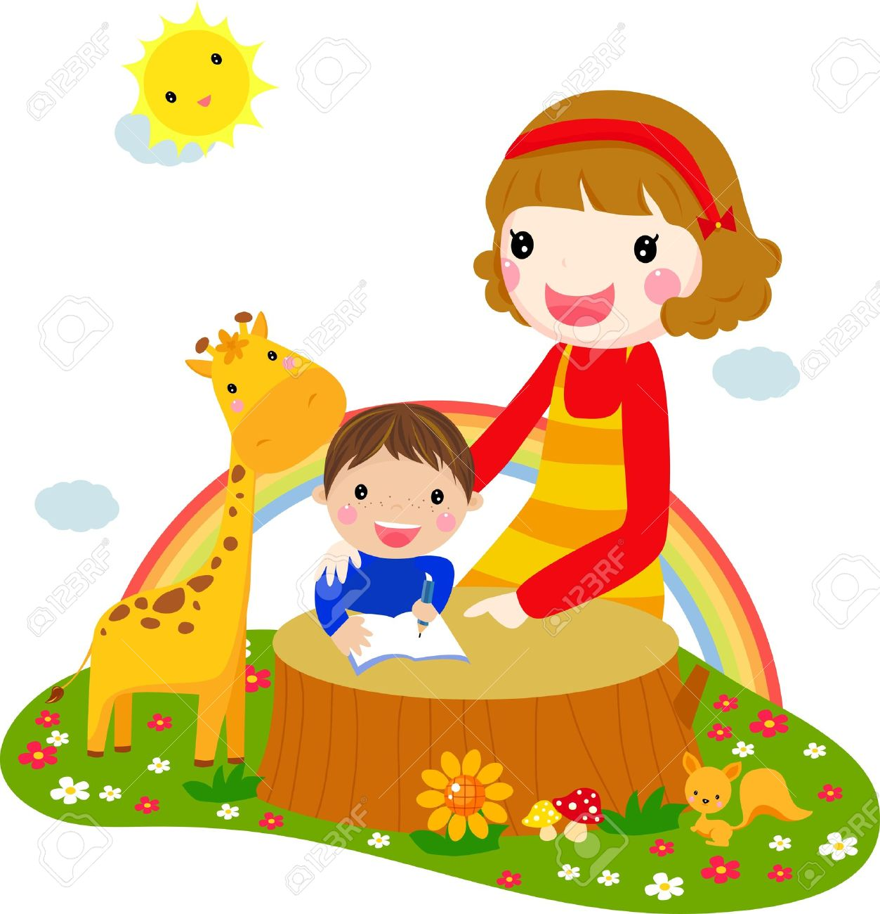 Child listening his mother read a storytelling book Stock Vector - 14999082