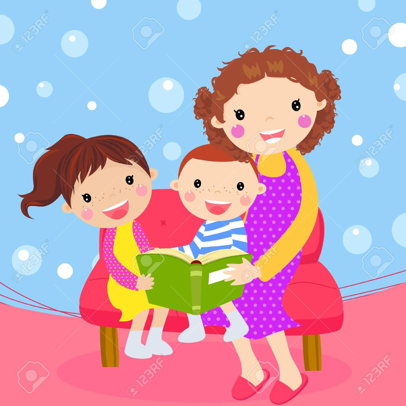 Young mother reading book to her children Stock Vector - 14906265
