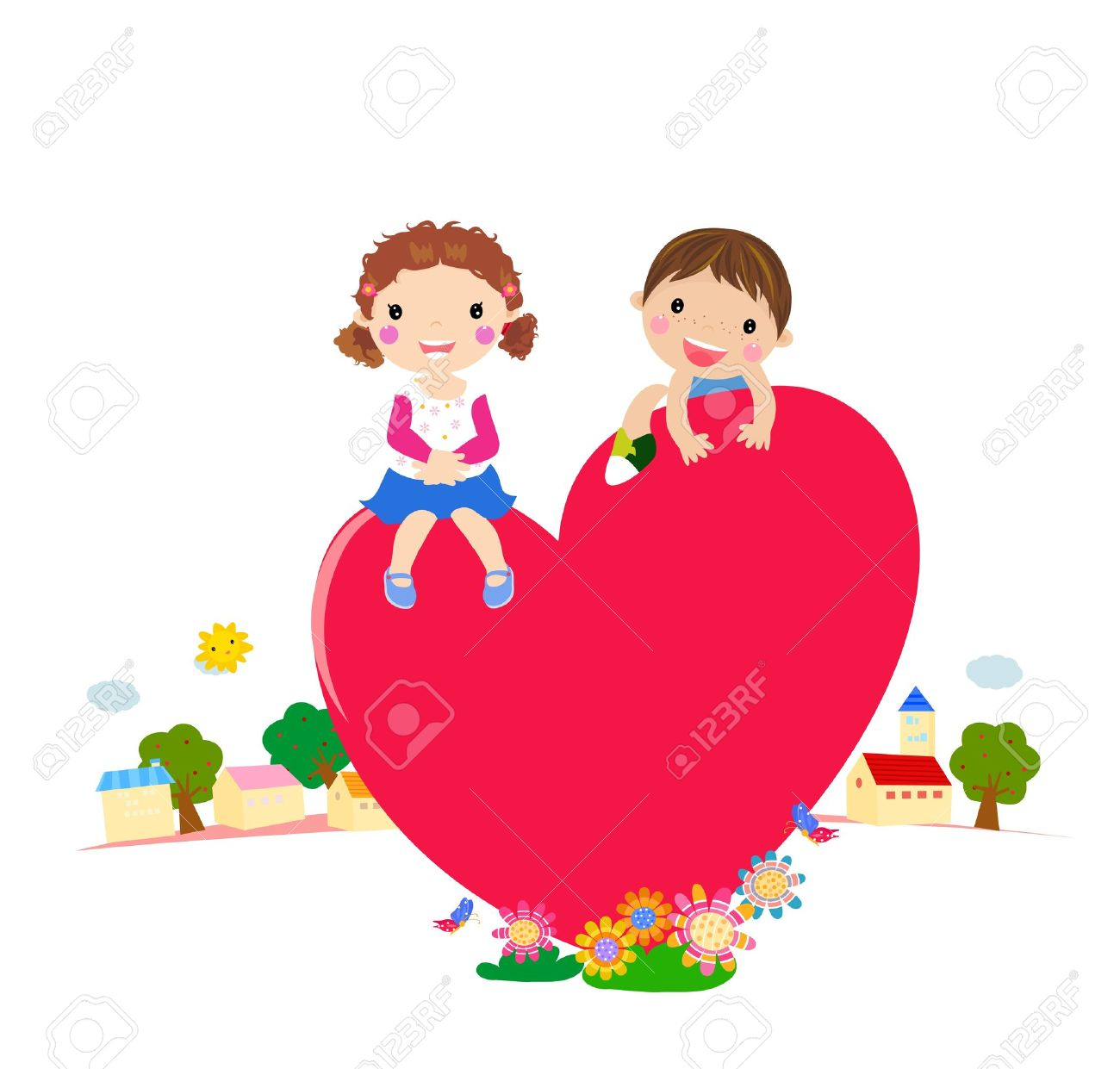 cartoon boy and girl in love  vector Stock Vector - 14906281