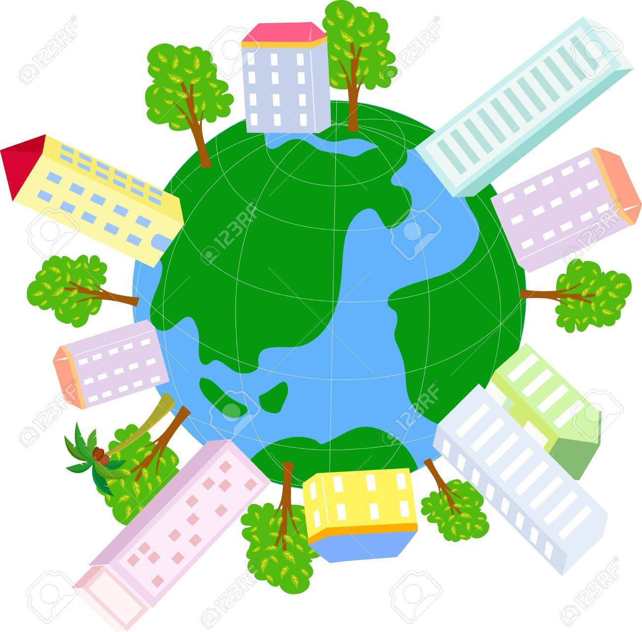 Globe and house Stock Vector - 14906306