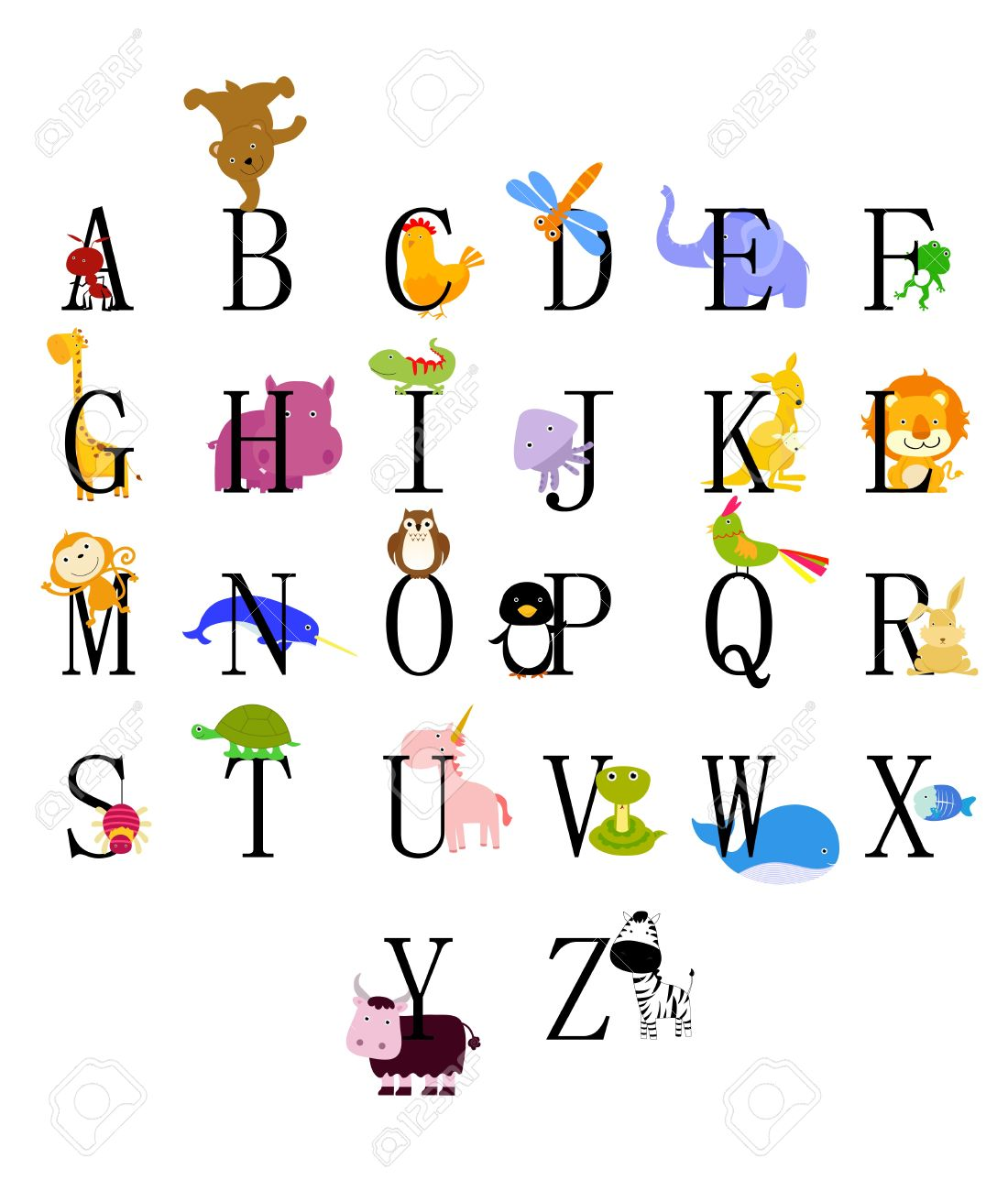 animals from animal alphabet royalty free cliparts vectors and