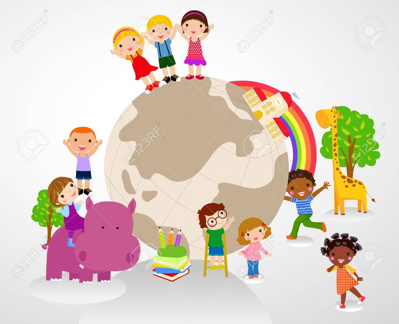 kids and glboe Stock Vector - 20662114