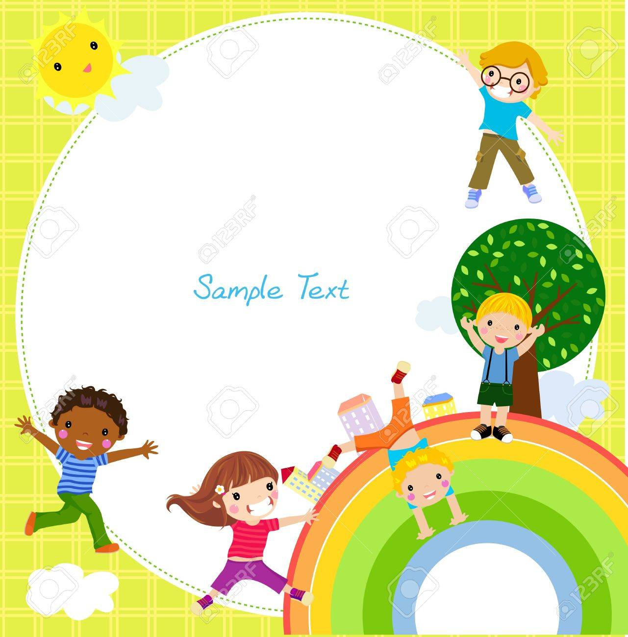 kids and rainbow Stock Vector - 18308504