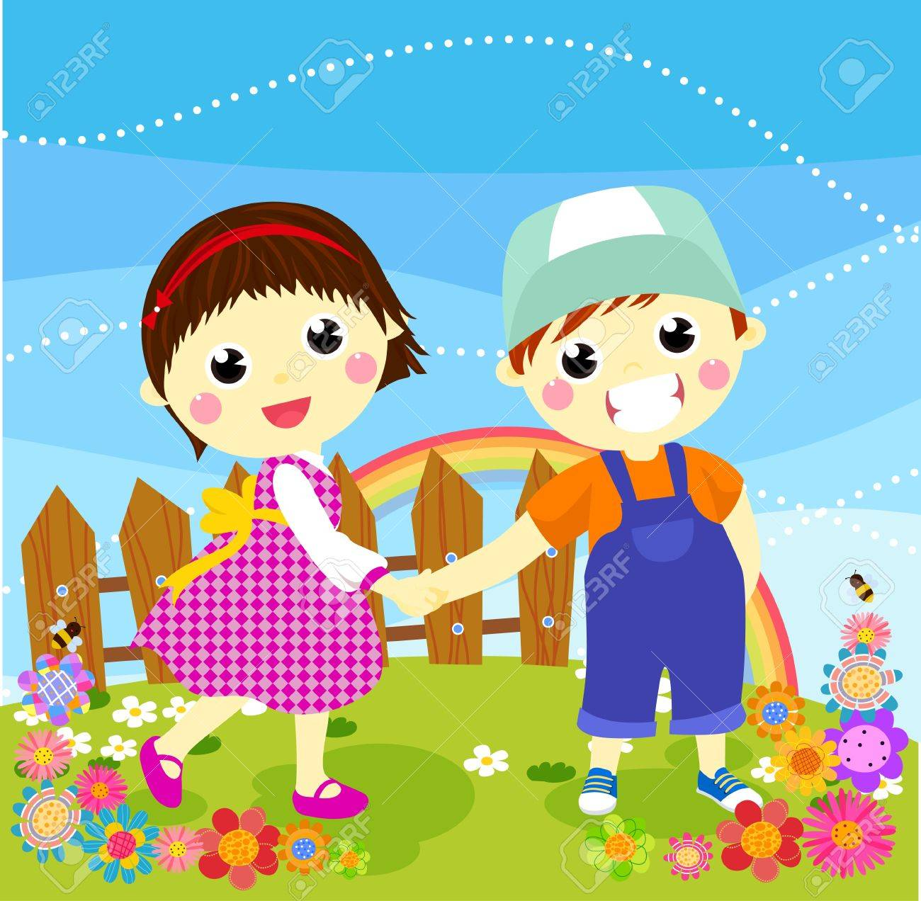 Vector illustration of cute boy and girl Stock Vector - 15170262