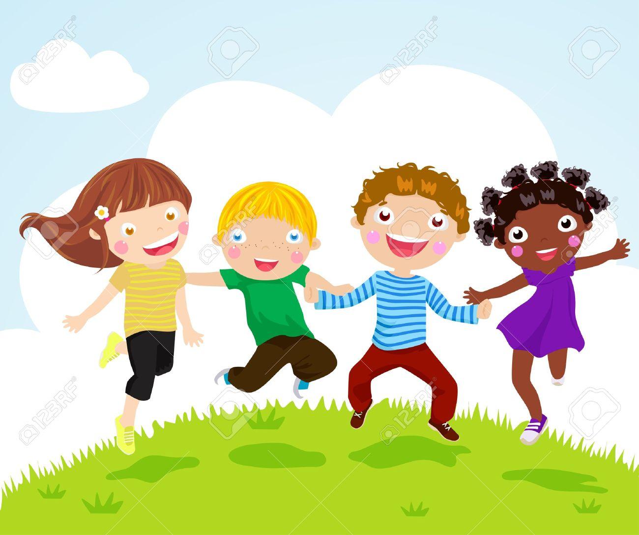Happy jumping kids - 15301256