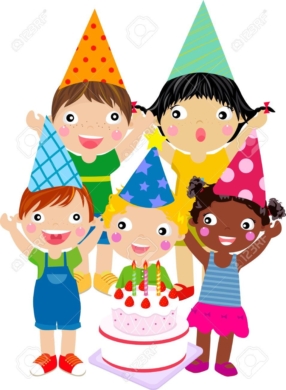 Kids And Birthday Cake Royalty Free Cliparts Vectors And Stock