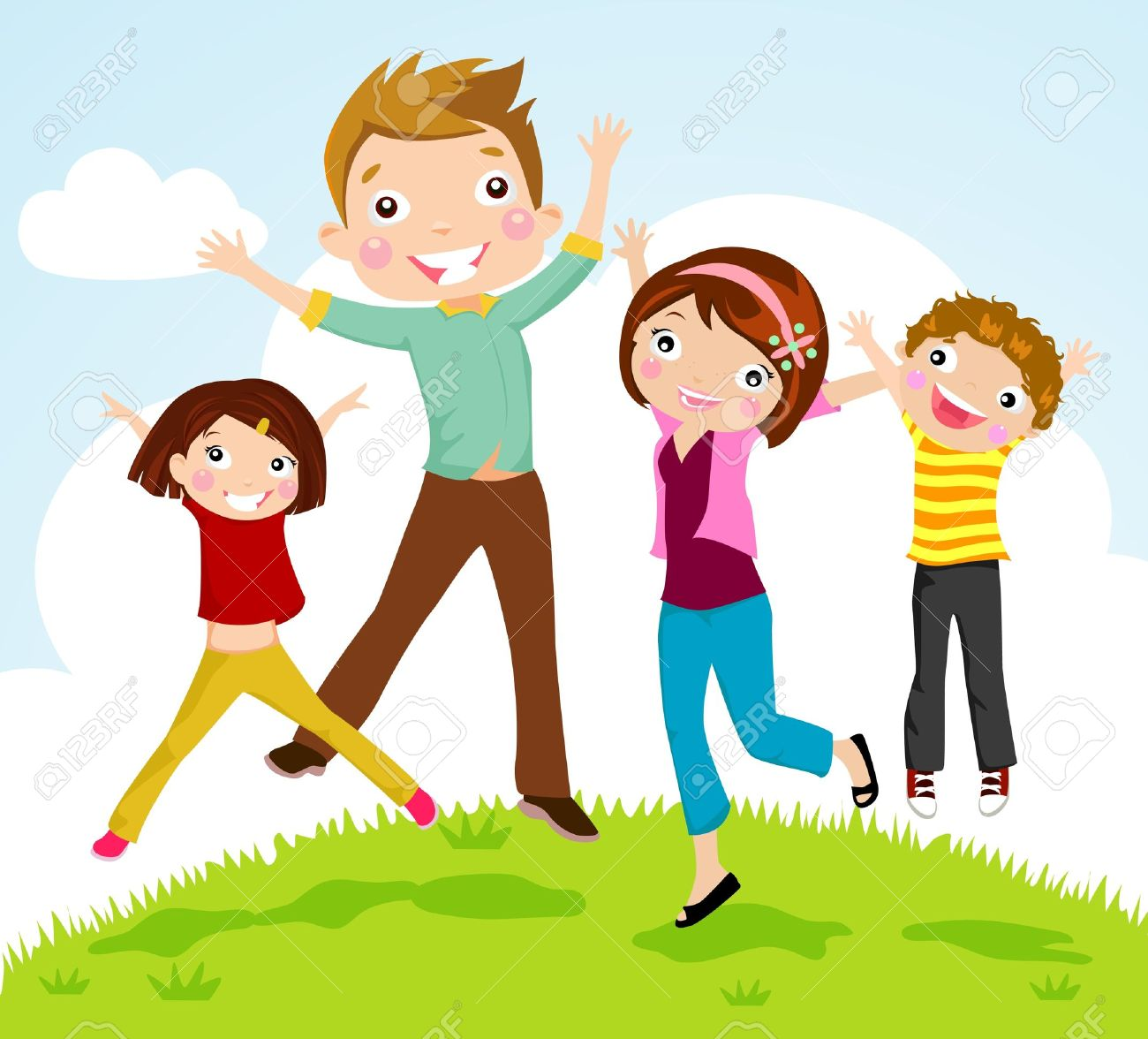 Family Jumping Royalty Free Cliparts, Vectors, And Stock ...