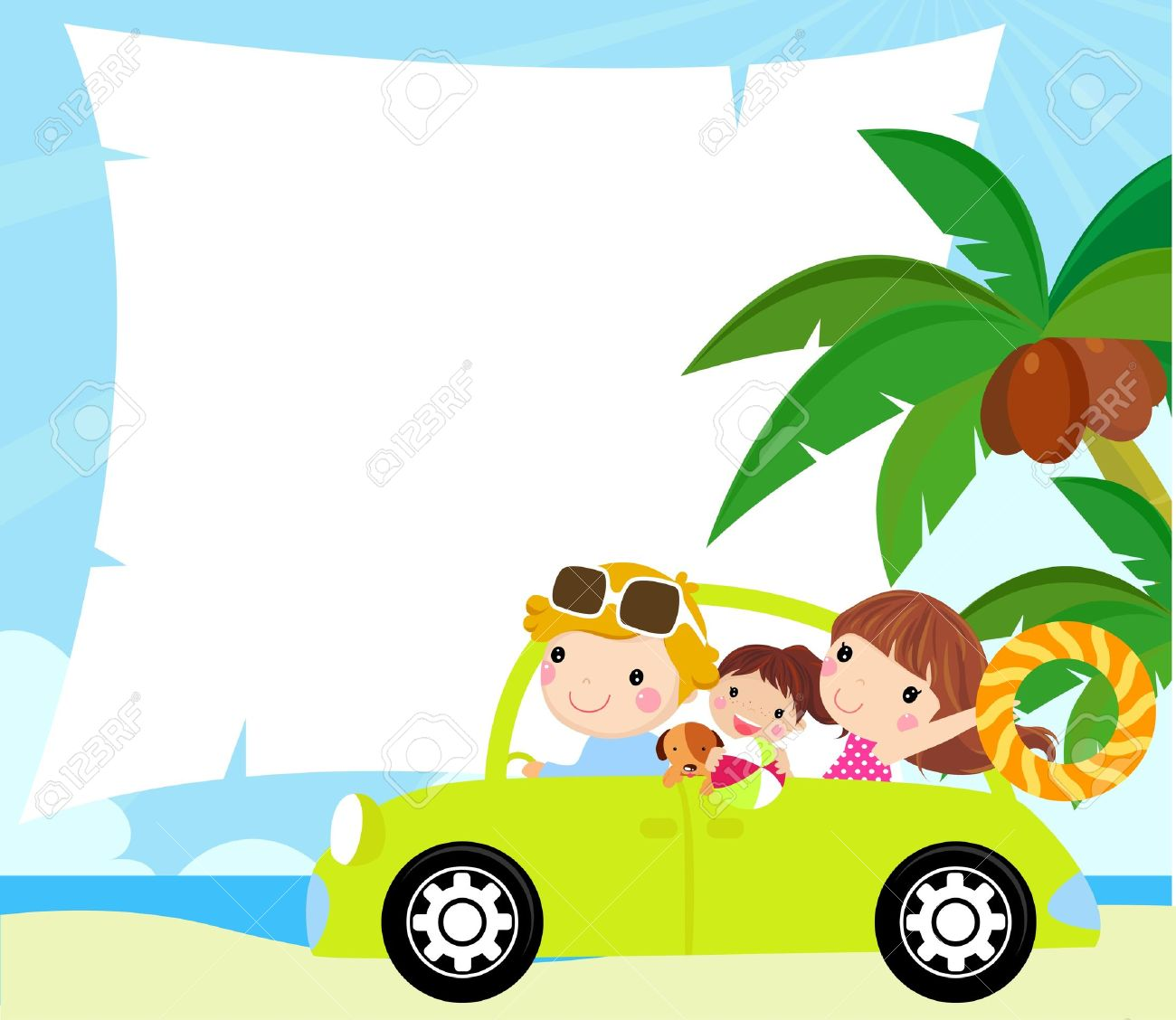 Cartoon Funny Happy Family Goes On Holiday By Car Royalty Free Cliparts Vectors And Stock Illustration Image 15167473