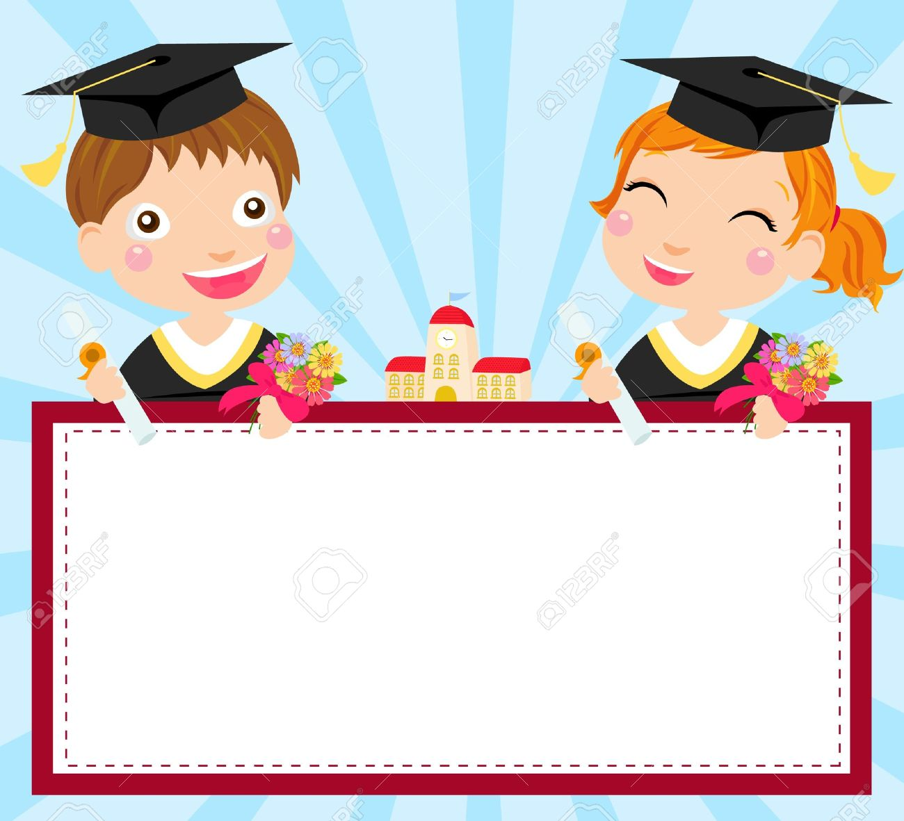 boy and girl graduate and banner stock vector 15245490