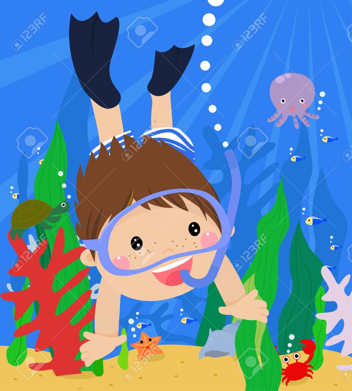boy diving in the sea with mask and snorkel Stock Vector - 15245443
