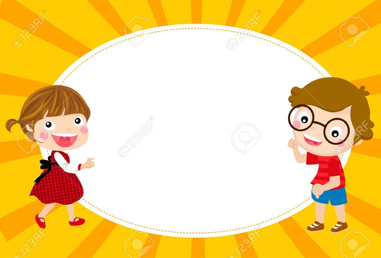 Cute Cartoon Kids Frame Stock Vector