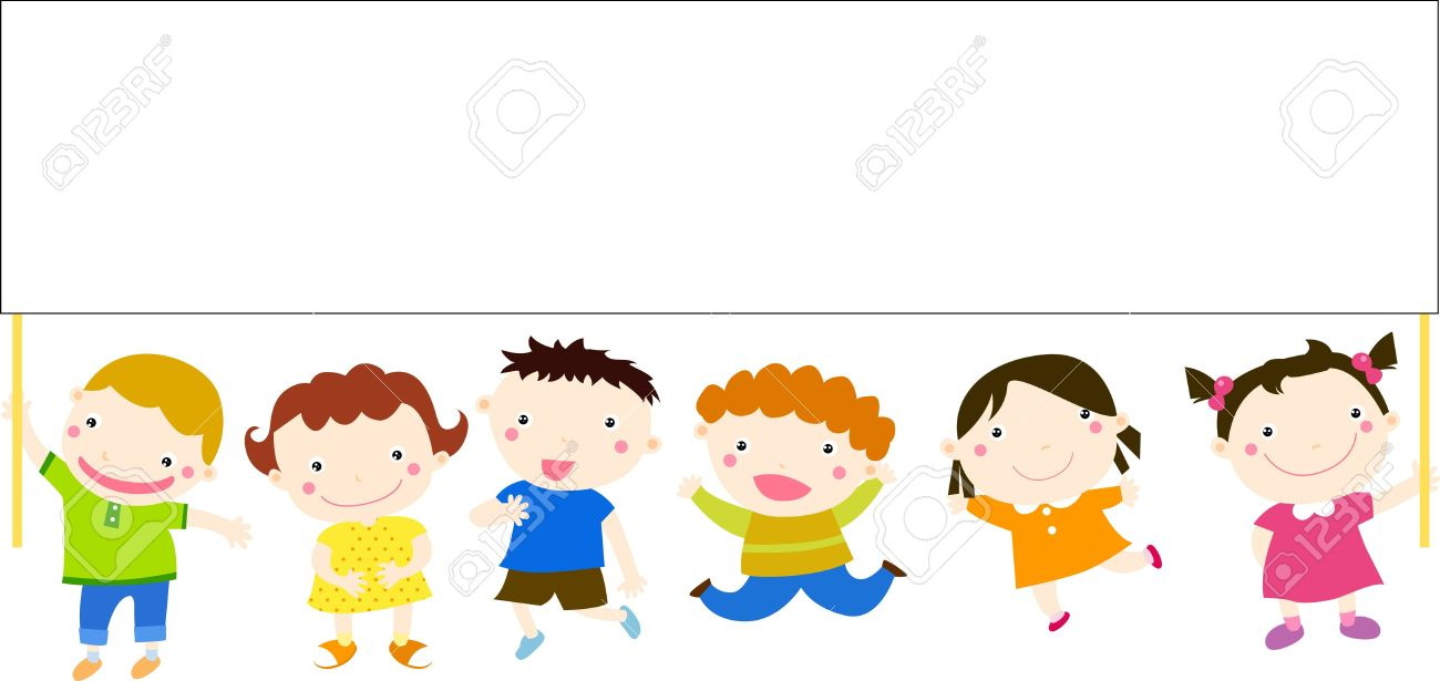 Multicultural children and banner Stock Vector - 15452353