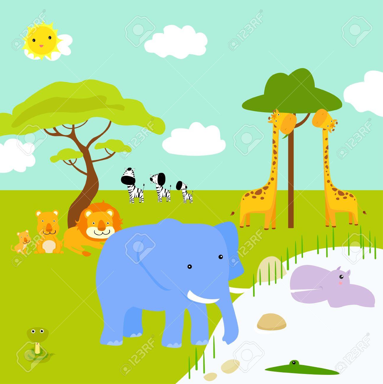 アフリカの風景や動物 - ベクトル イラスト ロイヤリティフリークリップ