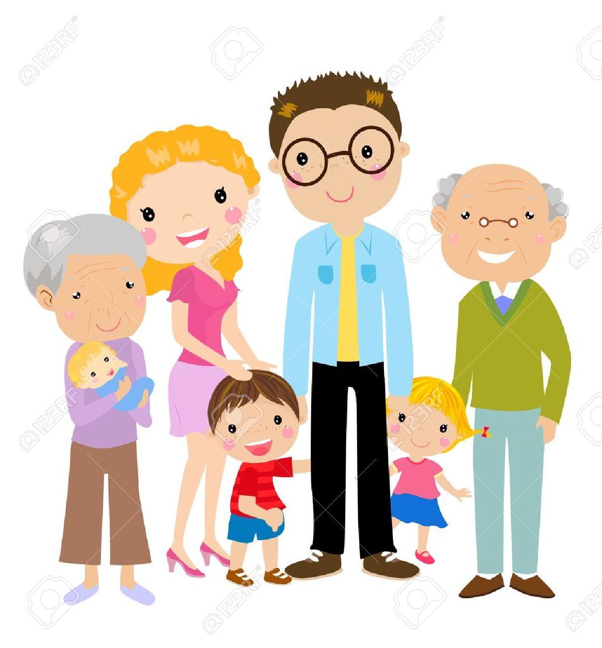 Gran Familia De Dibujos Animados Con Los Padres, Hijos Y Abuelos ...