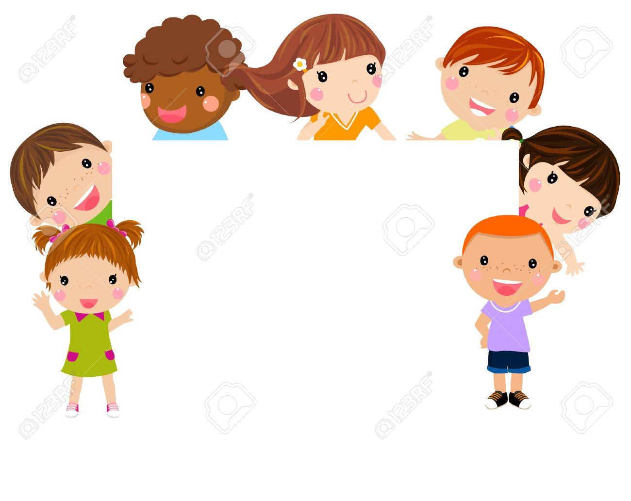 Los Niños De Dibujos Animados Lindo Marco Ilustraciones Vectoriales ...