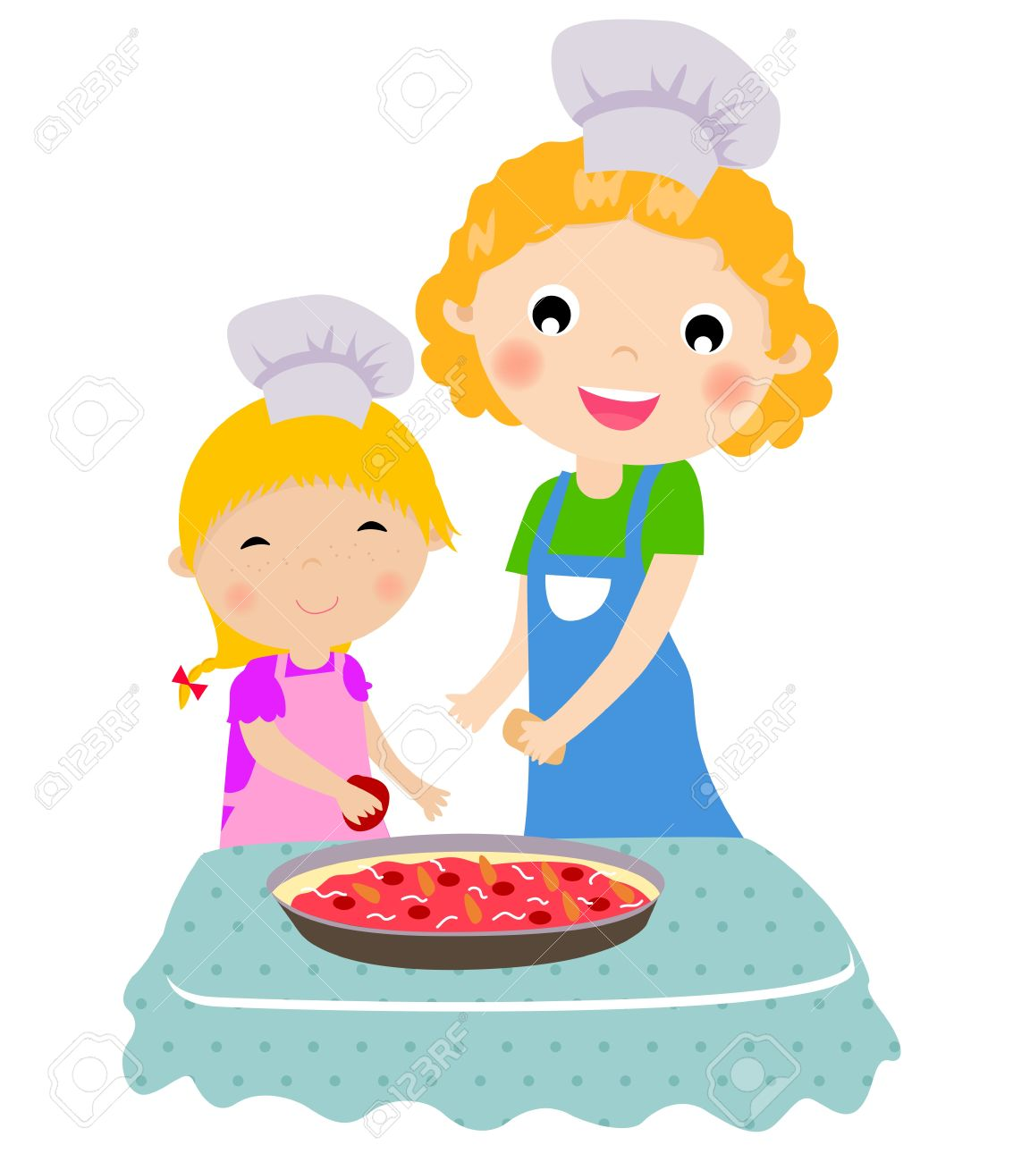 Selection of cartoons on cooking kitchens food and eating - Happy Mother With Her Daughter Cooking In The Kitchen Stock Vector 15741922