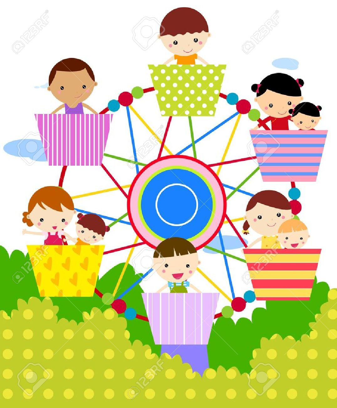 Ilustración De La Rueda De La Fortuna Con Los Niños Felices ...