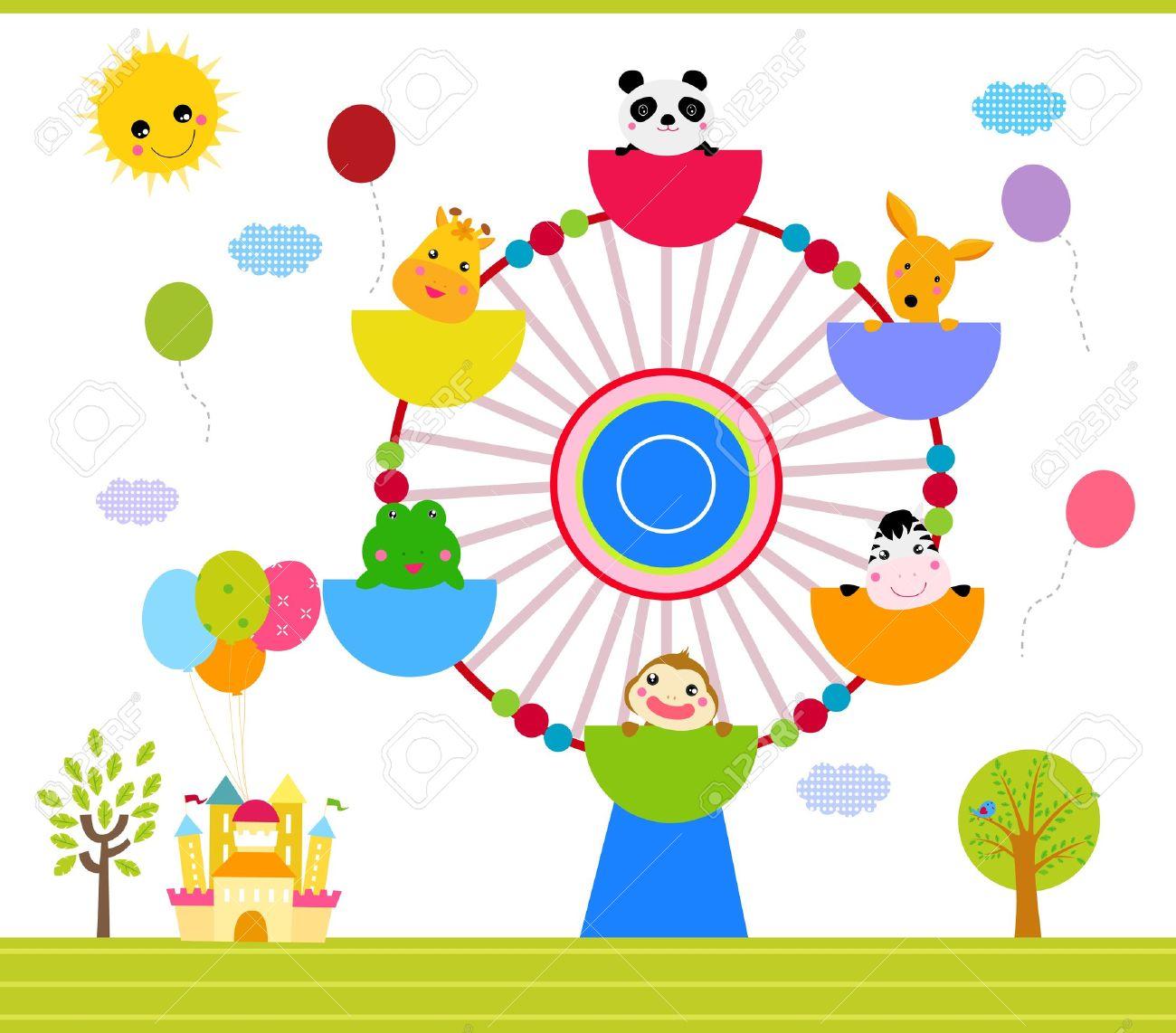 幸せな動物と観覧車のイラスト素材ベクタ Image 16041866