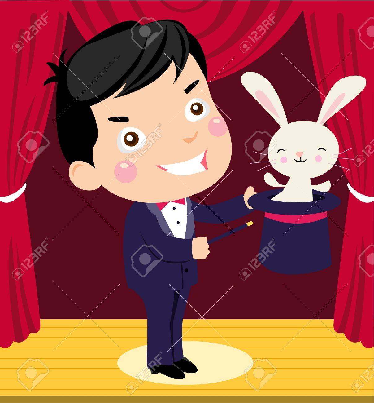 A happy cartoon magician pulling a rabbit out of his hat - 15821773