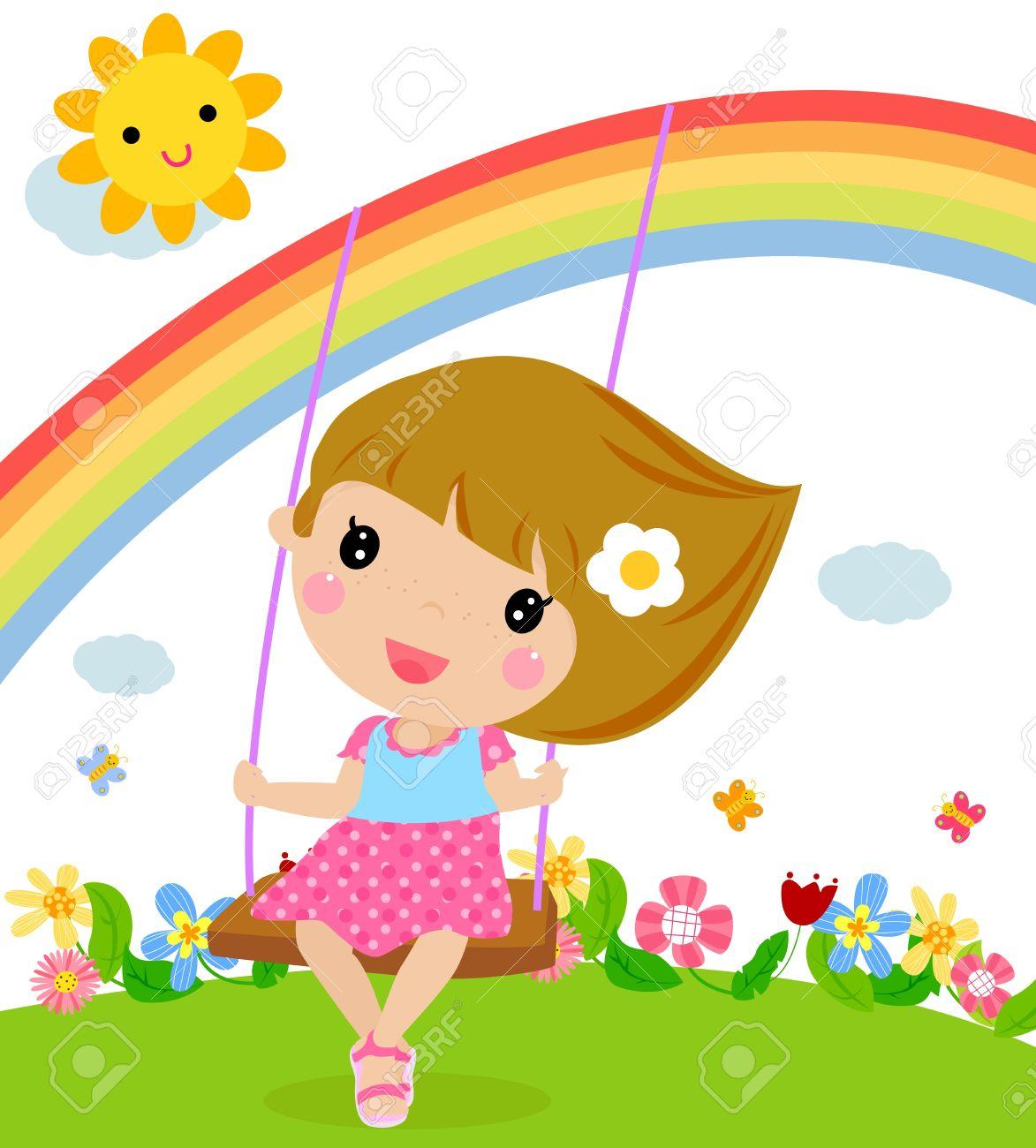 Cartoon girl swinging Stock Vector - 15821821