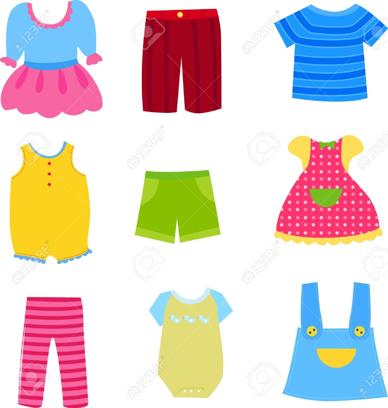 Baby And Children Clothes Collection Royalty Free Cliparts Vectors